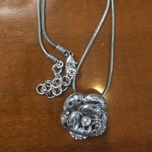 Brighton Flower Pendant Necklace silver